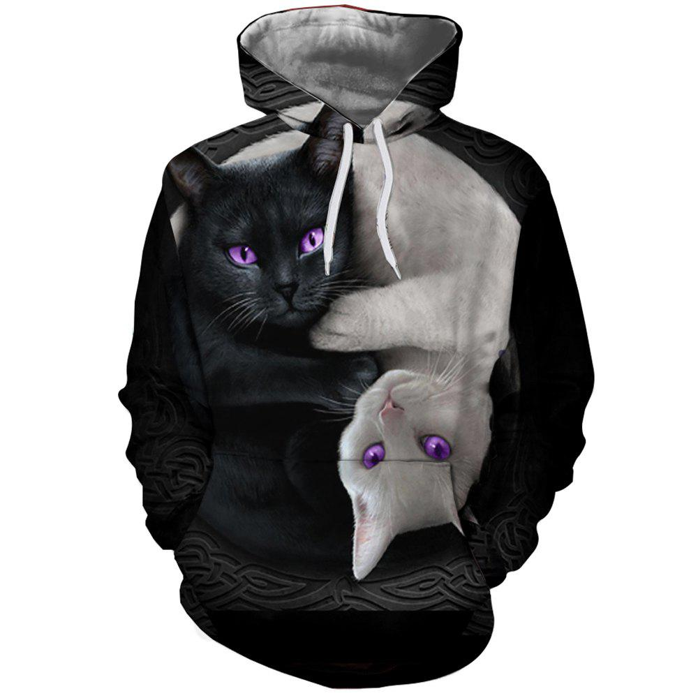 Shop 3D Fashion Ladies Print Black and White Cat Hoodie