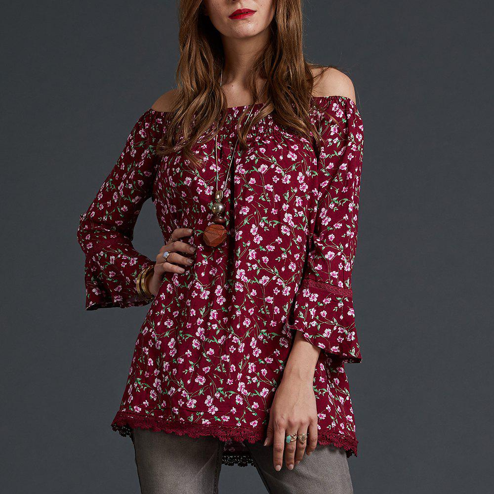 Chic SBETRO Floral Print Blouse Off Shoulder Peasant Smocked Neck 3/4 Bell Sleeve