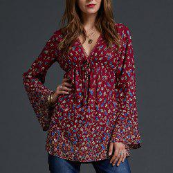 SBETRO Floral Border Print Blouse V Neck Empire Waisted Long Bell Sleeve Top -