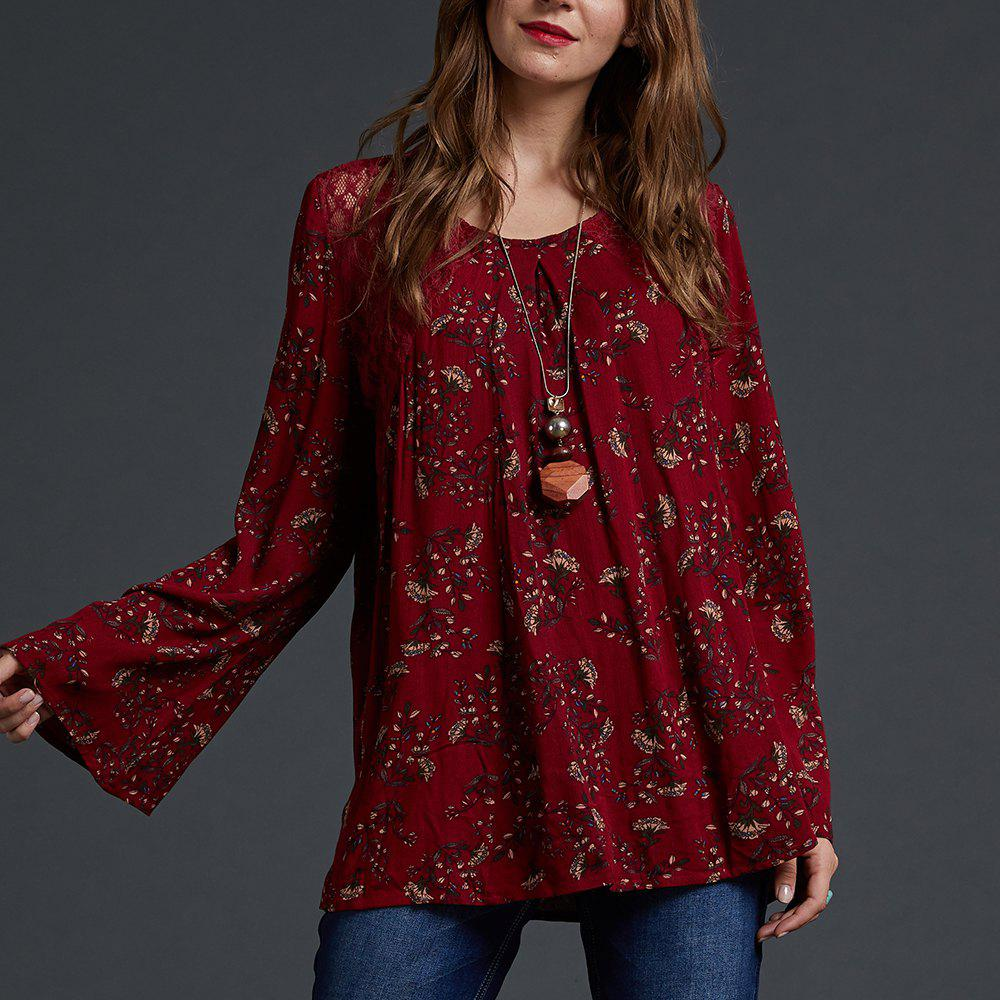 Affordable SBETRO Floral Print Blouse Kimino Bell Sleeve Tunic Top Fashion Crewneck Eyelet