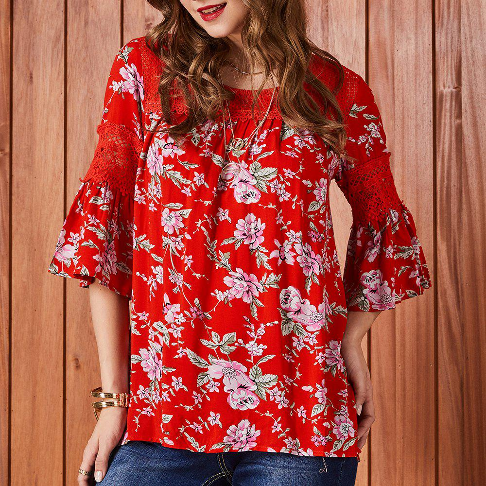 Shops SBETRO Floral Print Lace Bell Sleeve Loose Women Blouse Autumn Winter