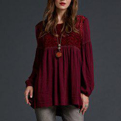 SBETRO Lantern Sleeve Blouse Burgundy Burnout Empire Waist -