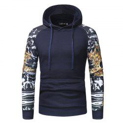 Men'S Personality Digital Printing Stitching Casual Slim Hooded Pullover Sweater -