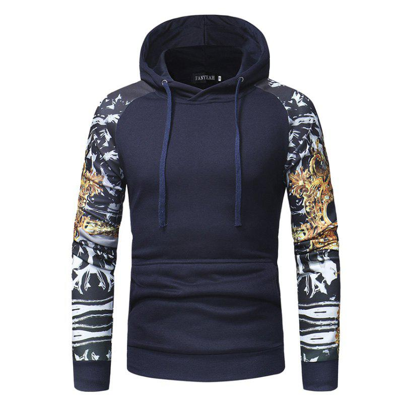 Outfit Men'S Personality Digital Printing Stitching Casual Slim Hooded Pullover Sweater