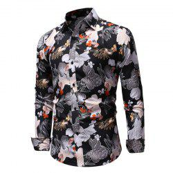 Men'S 3D Color Print Casual Slim Long-Sleeved Shirt -