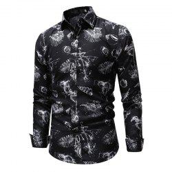 Men'S Classic 3D Digital Print Casual Slim Long Sleeve Shirt -