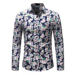 Men'S Fashion Printed Casual Slim Long-Sleeved Shirt Men -