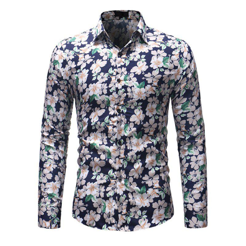 Unique Men'S Fashion Printed Casual Slim Long-Sleeved Shirt Men