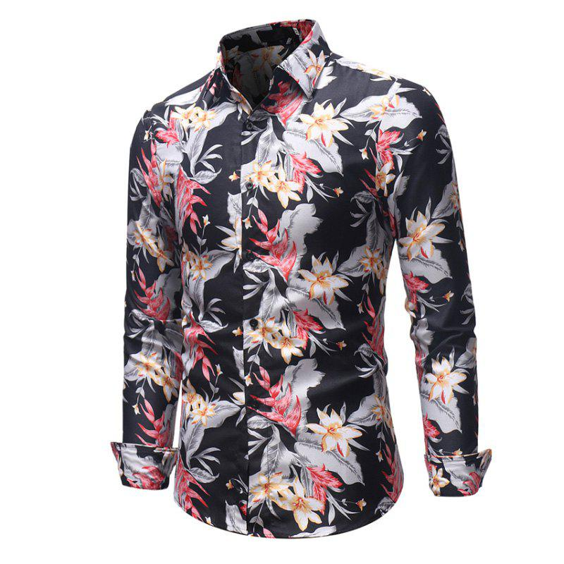 Buy Men'S Digital Print Casual Slim Color Long-Sleeved Shirt