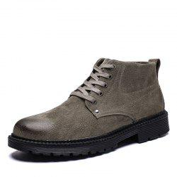 Men High-Top Leather Wear-Resistant Trend Casual Shoes Tooling Boots -