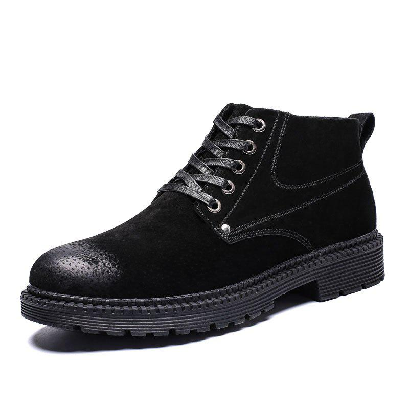 Fashion Men High-Top Leather Wear-Resistant Trend Casual Shoes Tooling Boots