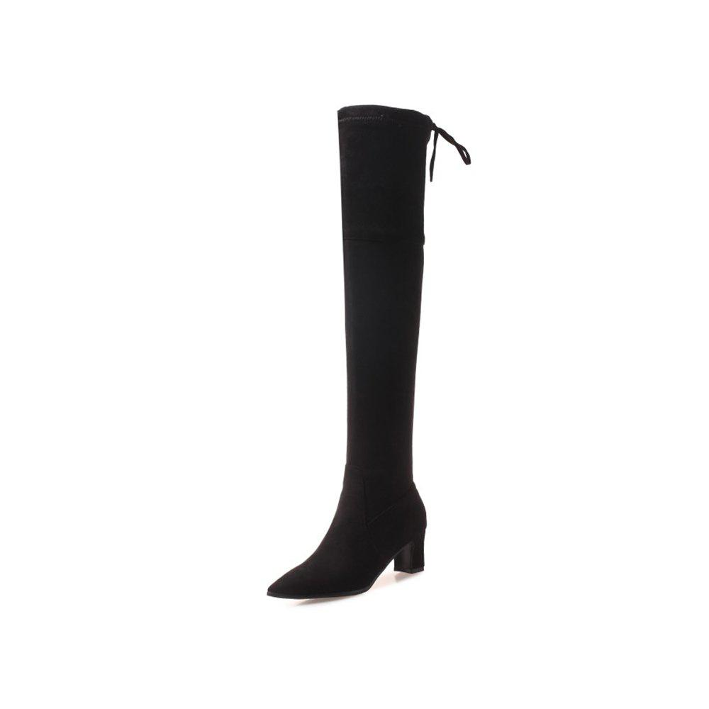 Discount Autumn and Winter Pointed Boots High Heel Thick with Women'S Boots Side Zipper W