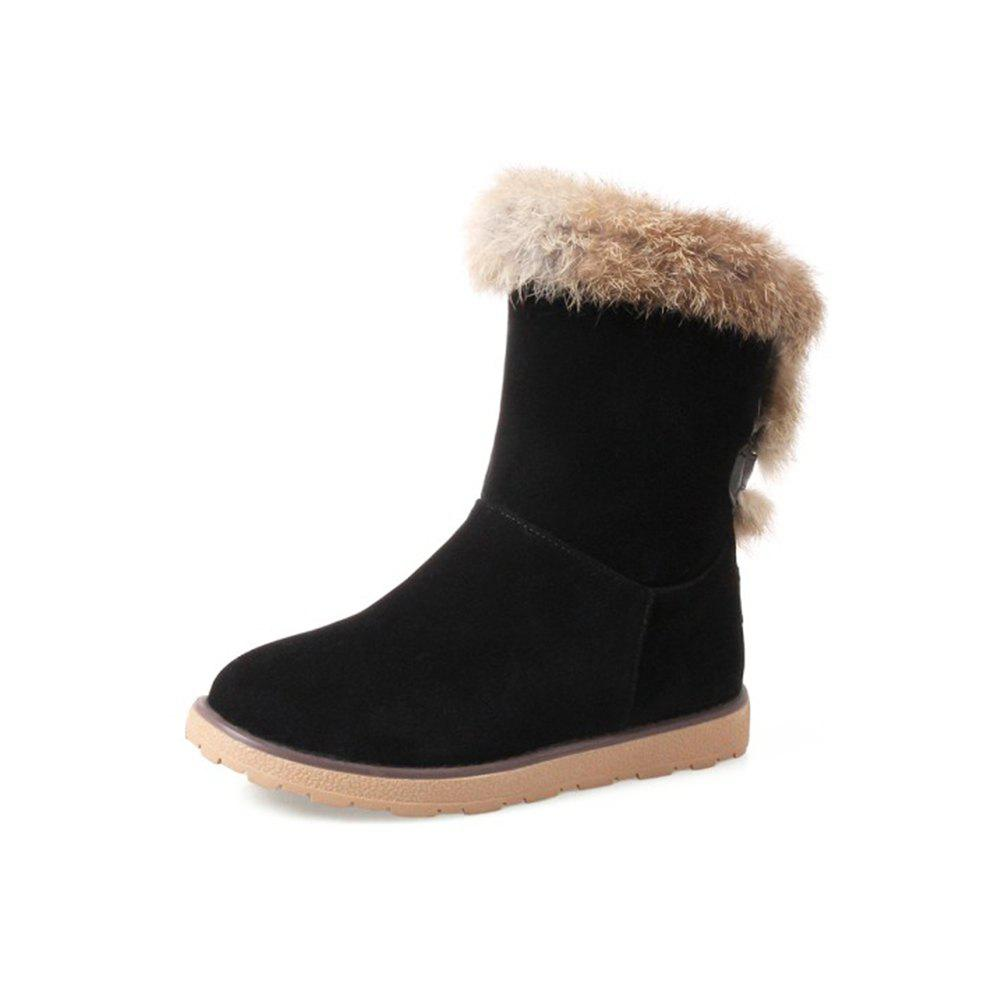 2018 Winter New Rabbit Fur Boots Snow Flat Warm Boot Suede 2cm Chic