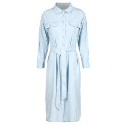 HAODUOYI Women's Casual Waist Denim Dress Blue -