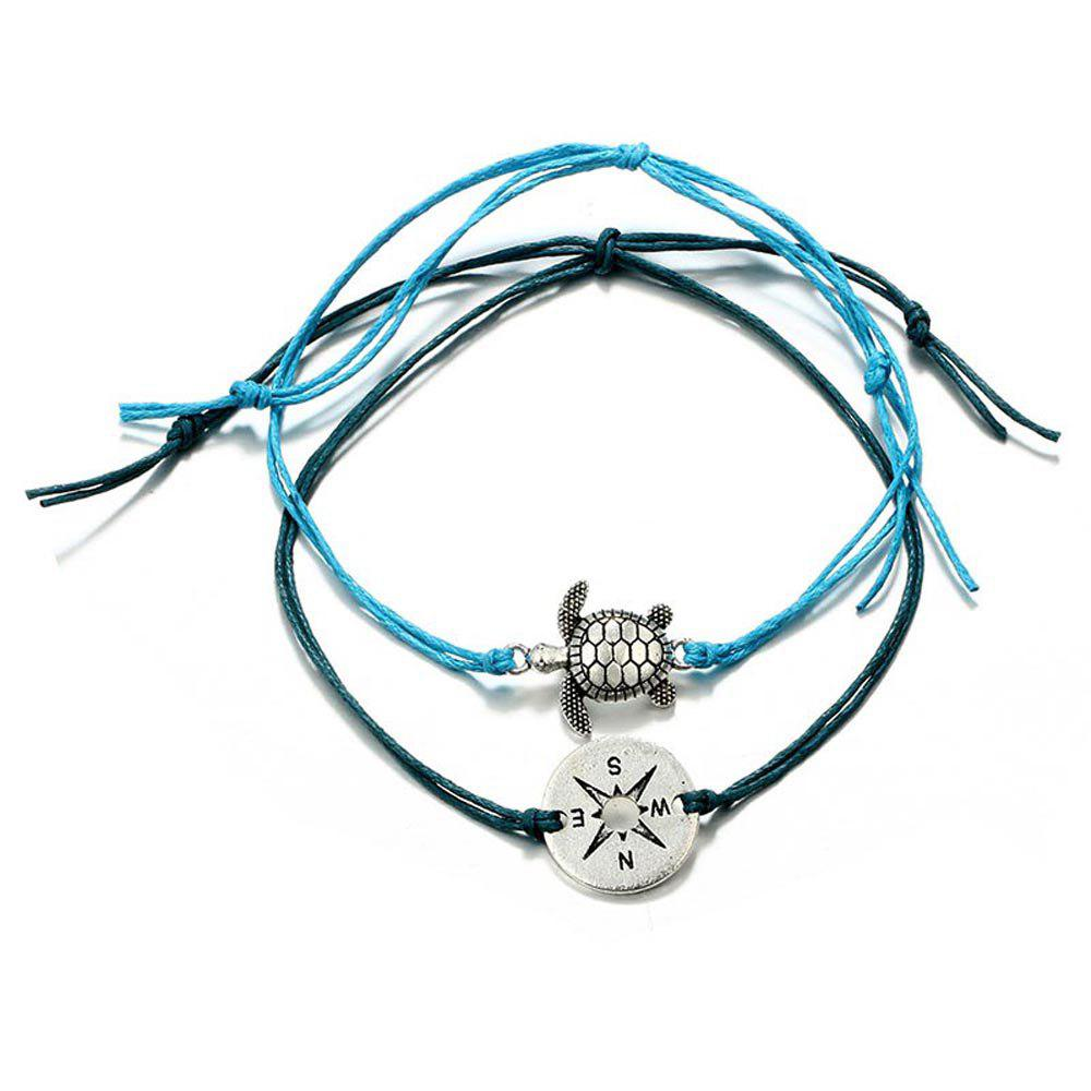 Shops Retro Fashion Round Compass Turtle Animal Two-Layer Anklets Set