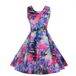 Vintage Print Sleeveless Dresses -