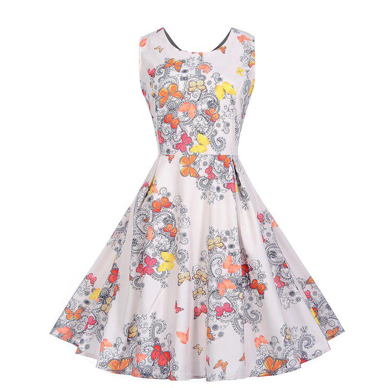 Discount Fashionable Print Sleeveless Dress
