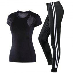 2 Pcs Women'S Sports Clothes O Neck T-Shirt Striped Fitness Pants Set -