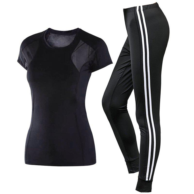 Fashion 2 Pcs Women'S Sports Clothes O Neck T-Shirt Striped Fitness Pants Set
