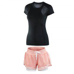 2 Pcs Women's Sports Clothes O Neck T-Shirt Comfy Fitness Shorts Set -