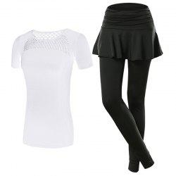 2 Pcs Women'S Sports Clothes Hollow Out T-Shirt Patchwork Divided Skirt Set -