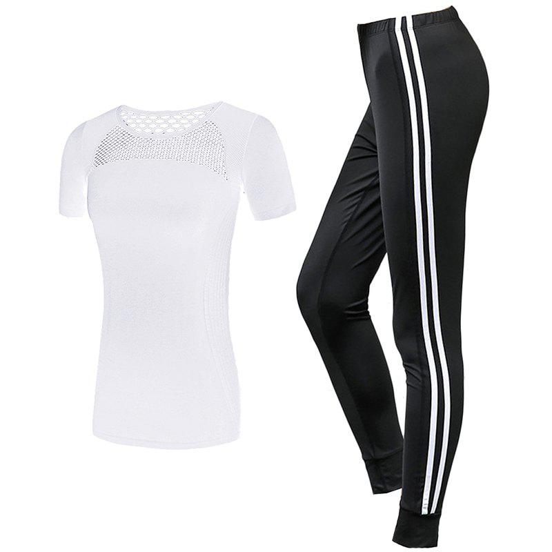 Chic 2 Pcs Women'S Sports Clothes Hollow Out T-Shirt Striped Casual Pants Set