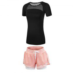 2 Pcs Women'S Fitness Clothes Set Hollow Out Breathable T-Shirt Running Shorts S -