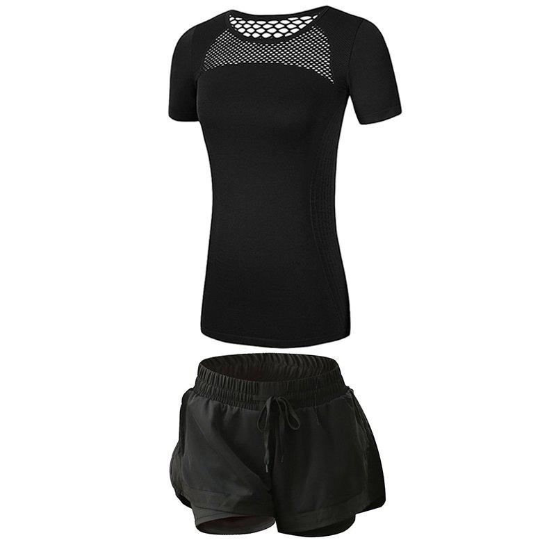 Online 2 Pcs Women'S Fitness Clothes Set Hollow Out Breathable T-Shirt Running Shorts S