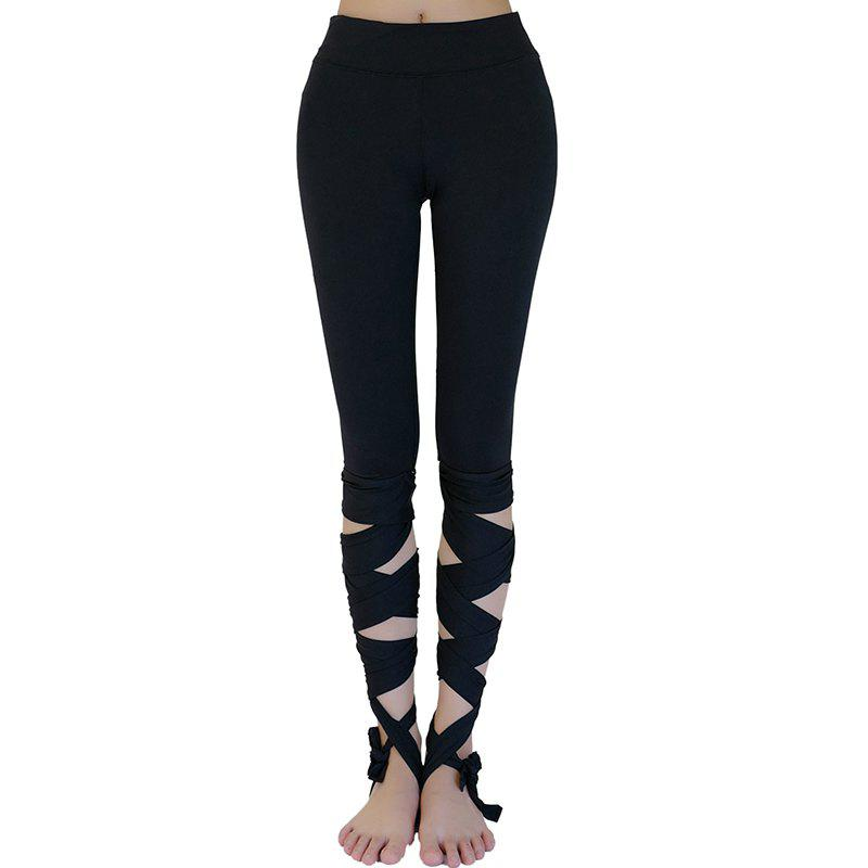Sale Women'S Training Pants Solid Color Hollow Out Yoga Shorts