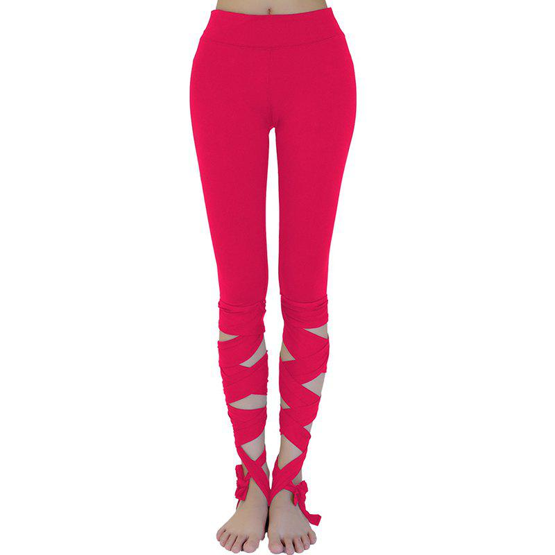 New Women'S Training Pants Solid Color Hollow Out Yoga Shorts