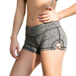 Women'S Sports Shorts Solid Color Hollow Out Yoga Shorts -