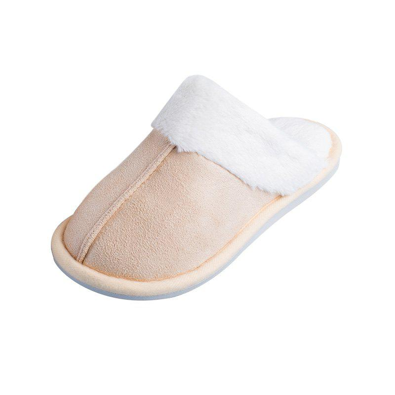New Home Story Suede Plush Warm Cotton Slippers
