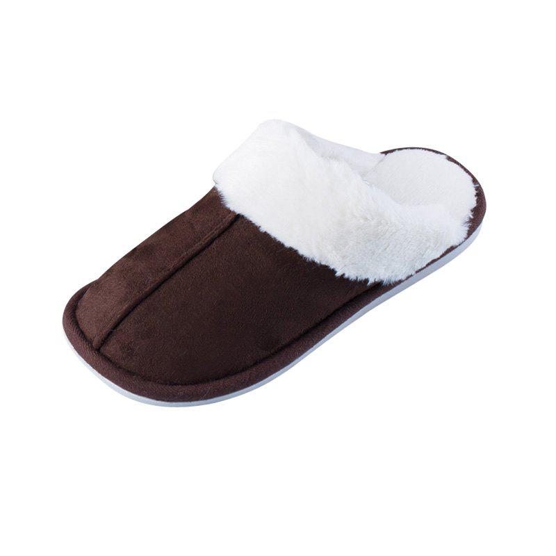 Shop Home Story Suede Plush Warm Cotton Slippers