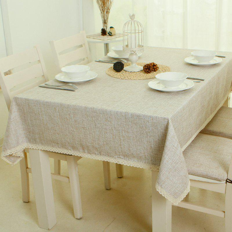 Chic Manyin Series Cotton and Linen Style Light Coffee Tablecloth from Jinsehuanian