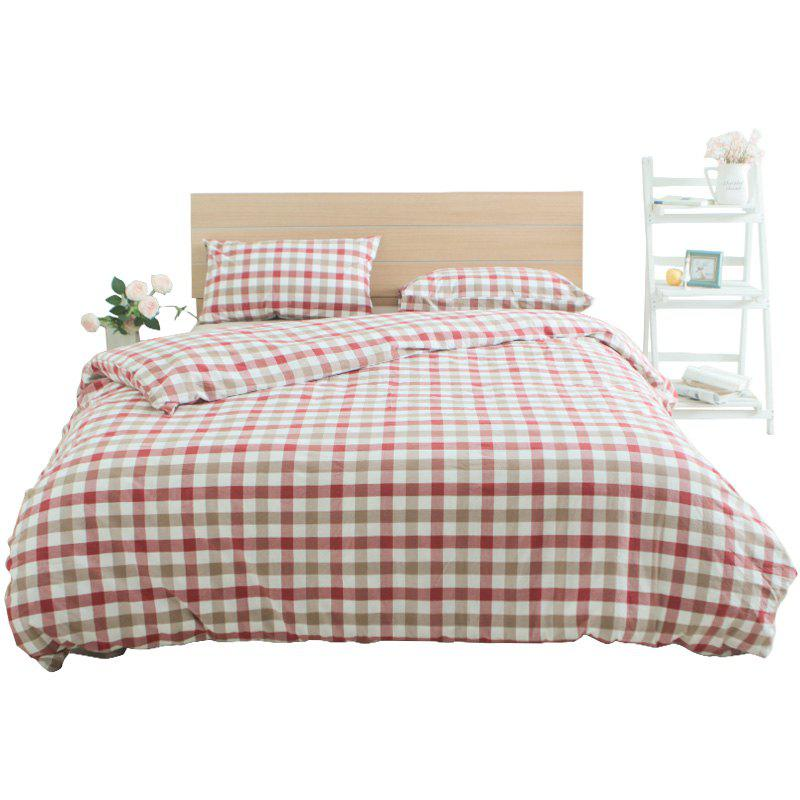 Shops Red Grid Cotton Bedding Set  from Jinsehuanian
