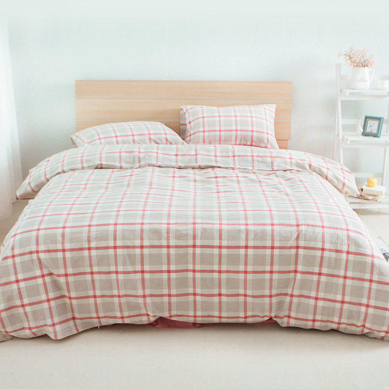 Outfit Cotton Nola Series Red Grid Bedding Set from Jinsehuanian