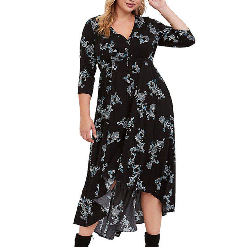 4XL 5XL Big Size 2018 Women Long Dress Autumn Female Print V Neck Plus Size  - 2xl ae27e4922d45