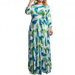 Plus Size Floral Maxi Dress Chiffon Floor Long Dress Women Loose Dress -