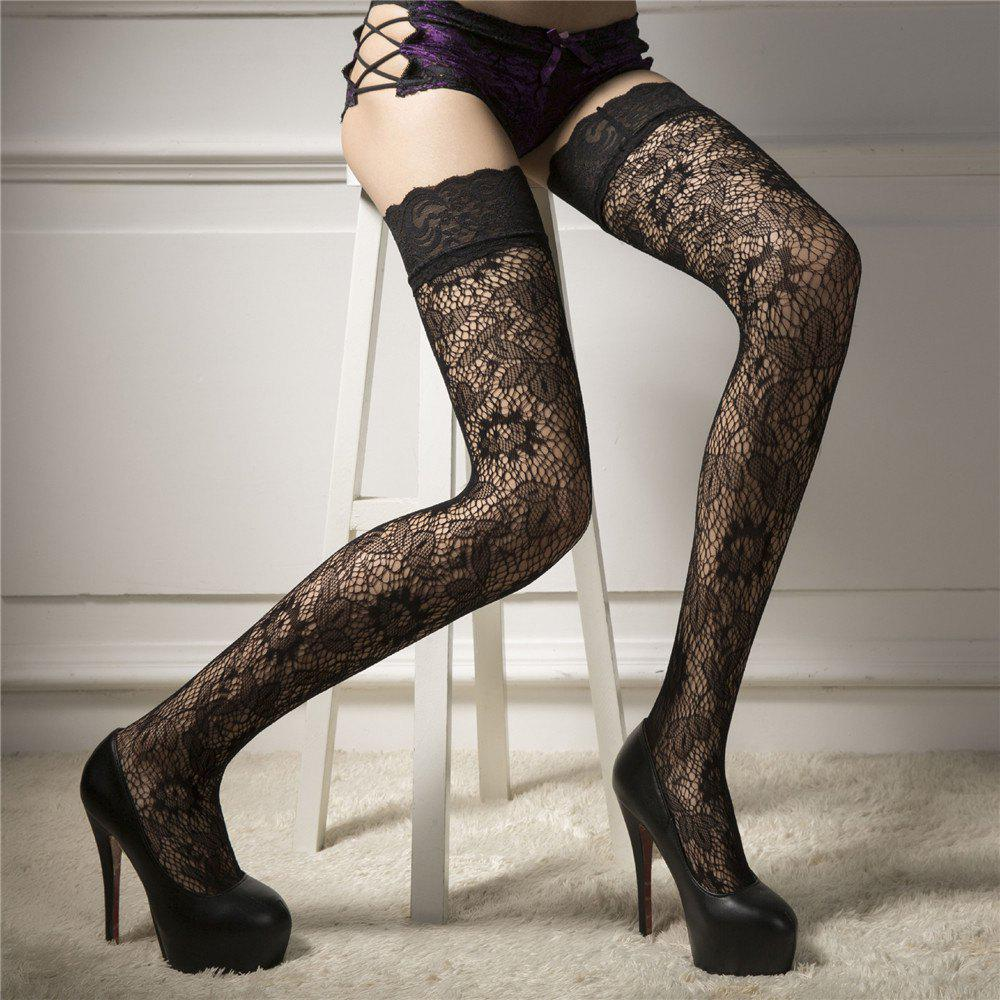 Unique Women Punk Rivets Lace Thigh High Stockings Fishnet Hold Up Hosiery Socks Black