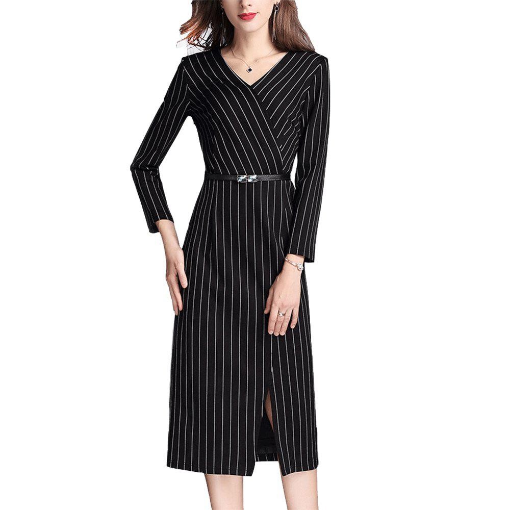 Outfit Black Striped Slimming Dress