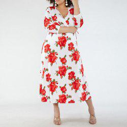 New Fashion Women Summer Large Size Dress 2018 Deep V-Neck Sexy Floral -