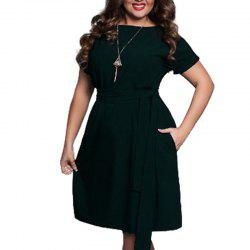 Plus Size Women Clothing Summer Style O-Neck Bodycon Chiffon Dress -