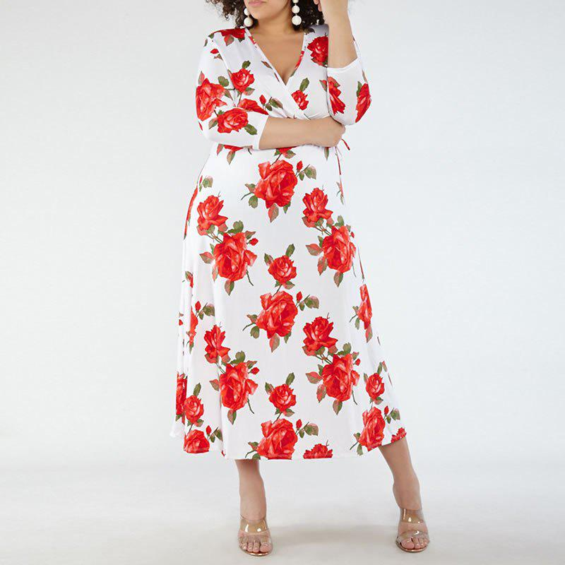 Discount New Fashion Women Summer Large Size Dress 2018 Deep V-Neck Sexy Floral