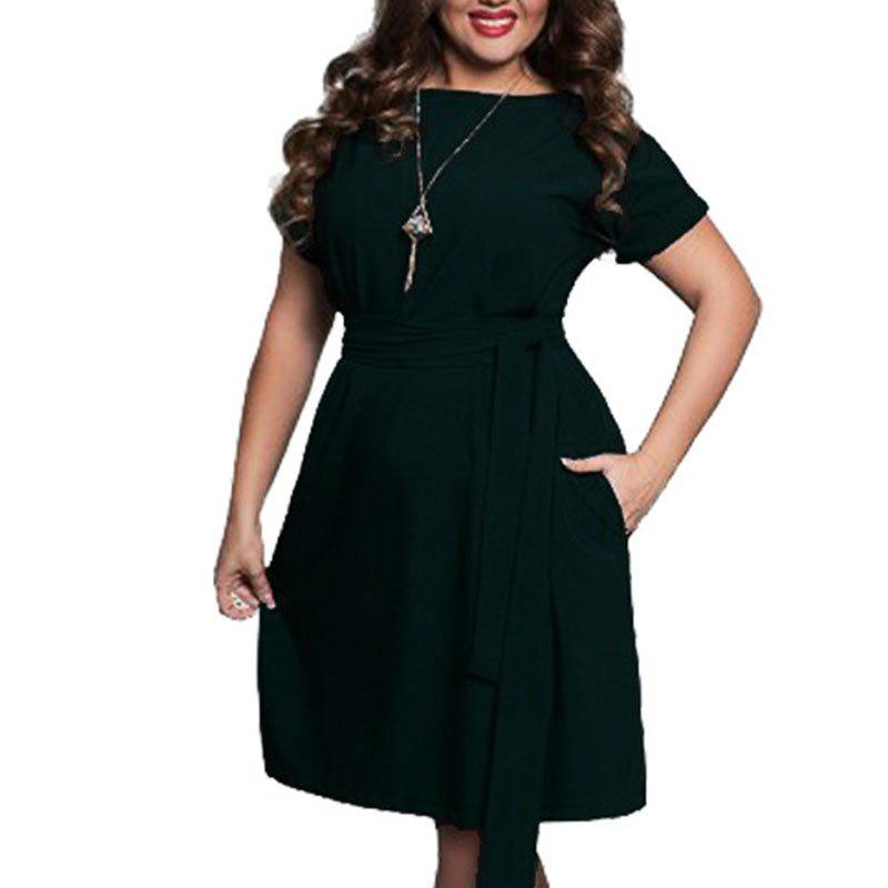 Online Plus Size Women Clothing Summer Style O-Neck Bodycon Chiffon Dress