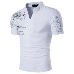 Mandarin Collar Short Sleeve Tee Shirt Men  Spring Summer Top Men Clothing -