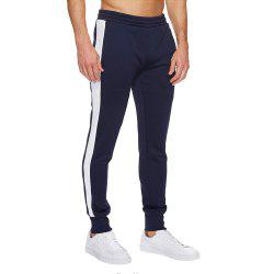 High elasticity  Pants Men Fitness Running Workout Sweatpants Striped Gym Sport -
