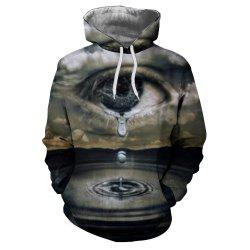 Men'S Fashion 3D Printing Eye Drip Hooded Hoodie -
