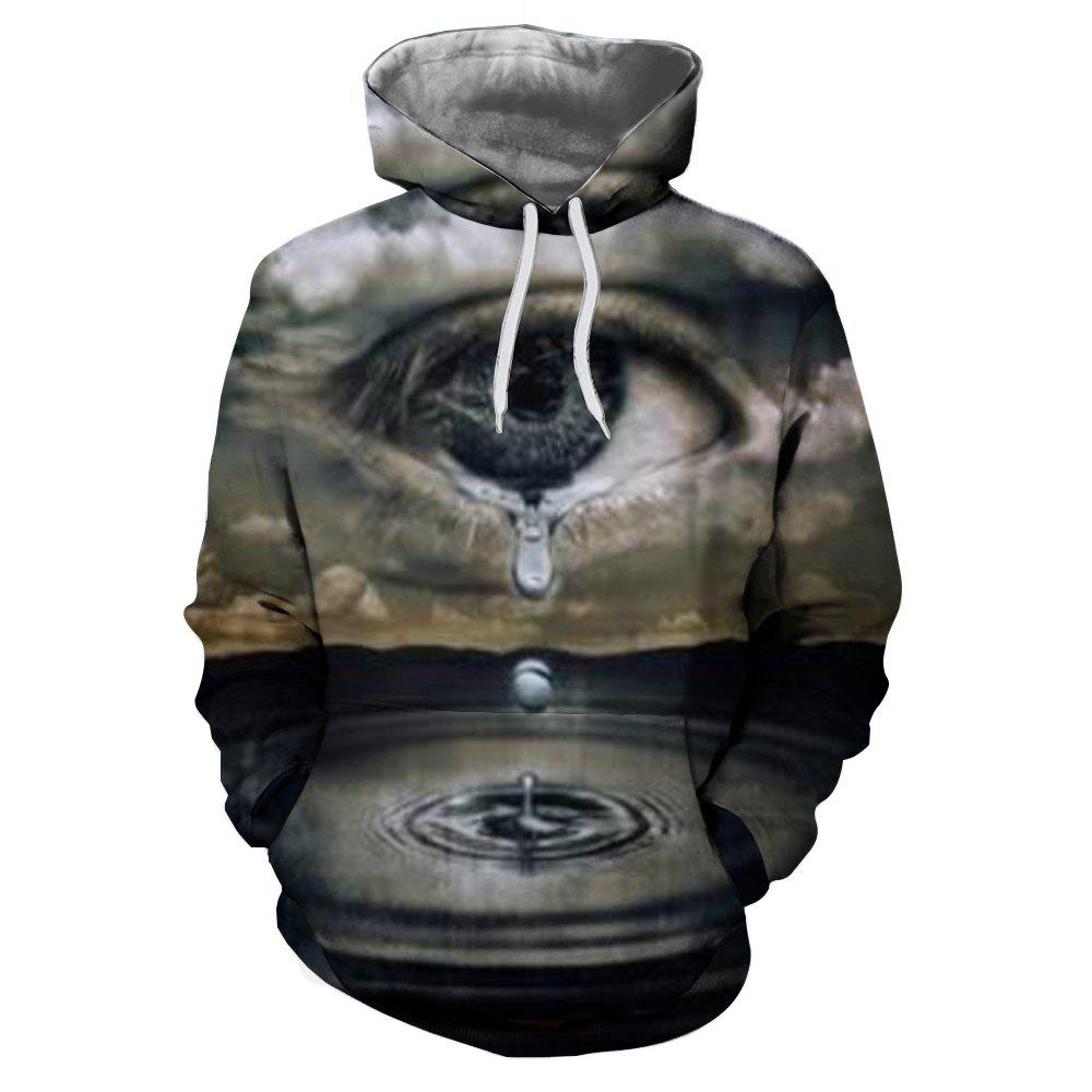 Latest Men'S Fashion 3D Printing Eye Drip Hooded Hoodie