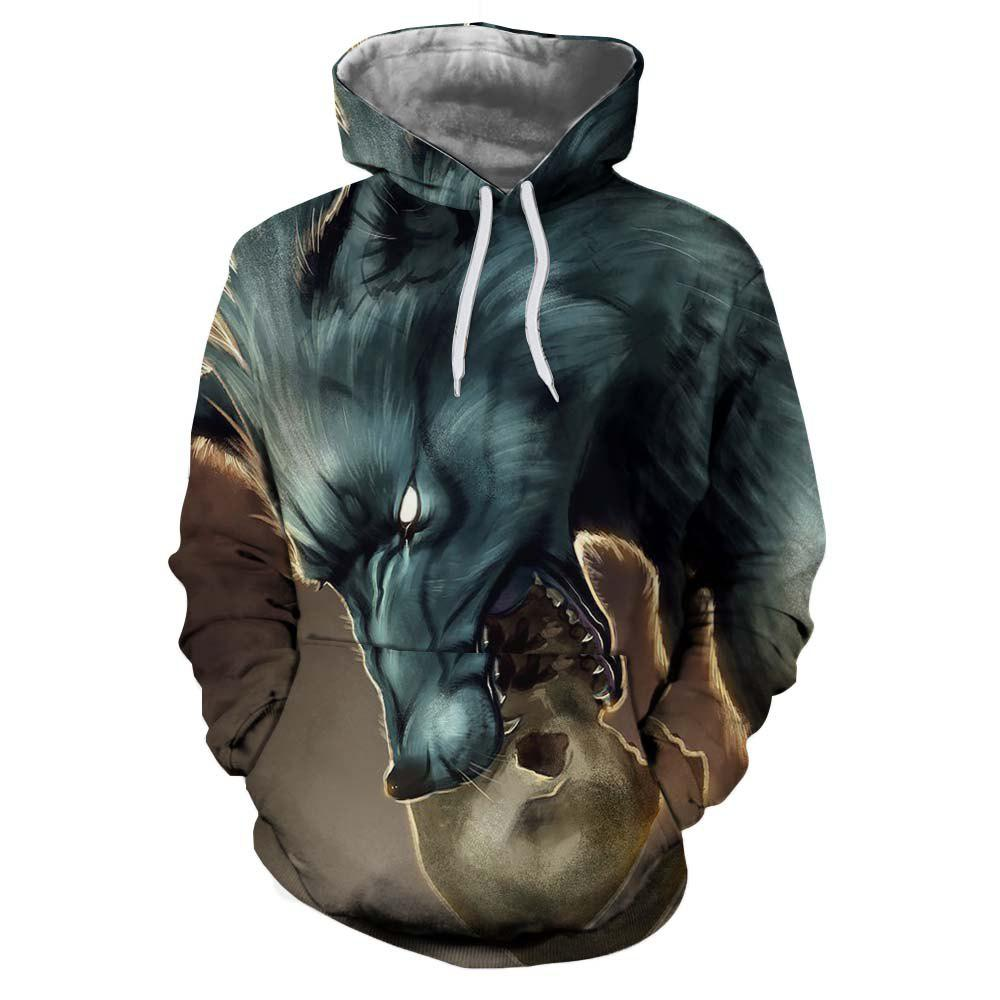 Outfit European and American Trend 3D Printing Dragon Hooded Hoodie