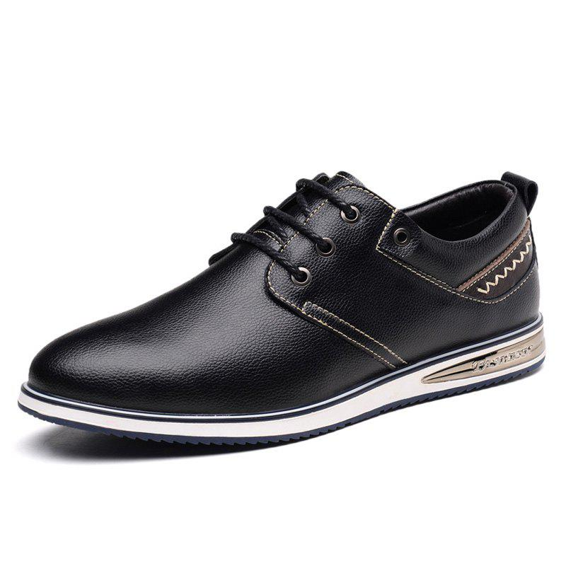 Store Men Flat Bottom with Trend Casual Pointed Leather Shoes
